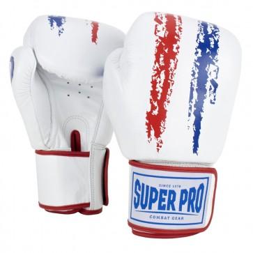 Super Pro Combat Gear Warrior Lederen (kick)bokshandschoenen Rood/Wit/Blauw