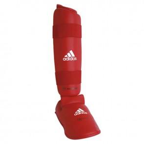adidas WKF Schienbeinschutz mit abnehmbarem Fuß Rot
