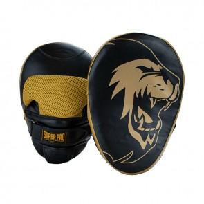 Super Pro Combat Gear Handpads Curved Leder Zwart/Goud