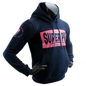 Super Pro Hoodie S.P. Block-Logo Donker Blauw/Roze