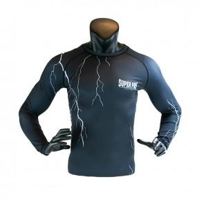 Super Pro Combat Gear Compression Shirt Long Sleeve Thunder Zwart/Grijs
