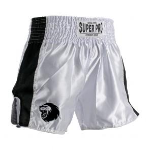 SPTS110-10900 Super Pro Combat Gear Thai en Kickboksshort Brave Wit/Zwart