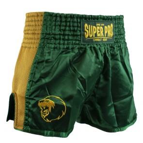 Super Pro Combat Gear Thai- und Kickboxing Short Brave green/gold