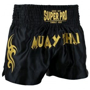 Super Pro Combat Gear Thaiboxing Short Fighter black/gold